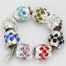 20pc Silver Plated Crystal Barrel Charm European Bead Fit Bracelet AB143