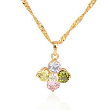 18K Gold Plated Multicolor  Circle Flower Pendant Long Chain Link Necklace
