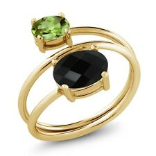2.12 Ct Oval Checkerboard Onyx Green Peridot 18K Yellow Gold Plated Silver Ring