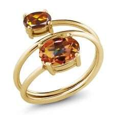 2.10 Ct Ecstasy Mystic Topaz Madeira Citrine 18K Yellow Gold Plated Silver Ring