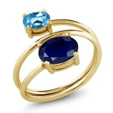 2.79 Ct Oval Blue Sapphire Swiss Blue Topaz 18K Yellow Gold Plated Silver Ring