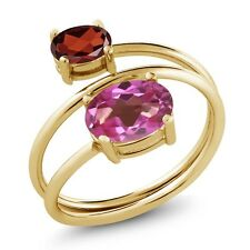 2.30 Ct Oval Pink Mystic Topaz Red Garnet 18K Yellow Gold Plated Silver Ring