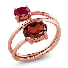 2.40 Ct Oval Red Garnet Red Ruby 18K Rose Gold Plated Silver Open Ring