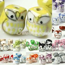 10pcs Animal Owl Ceramic Porcelain Charm Spacer Bead Wholesale Lot 14-19mm