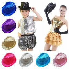 Women Men Kids Bling Sequin Jazz Hat Stage Perform Dance Party Club Fedora Hot