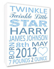 ~ Personalised Baby Boy Christening Gift Canvas Print Blue Lettering A1/A2/A3