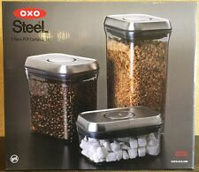 OXO Steel 3 Piece Food Storage POP Container Set NEW