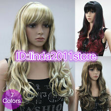 New ladies Sexy Long wavy curly (7 color) Party Hair Wig - Full Wig+Free wig cap