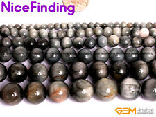 Natural Round Gray Hawkeye Beads Lot For Jewelry Making Gemstone 15'' In Bulk