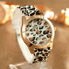 Geneva Women Silicone Watch Men Unisex Leopard Jelly Gel Quartz Wrist Watches