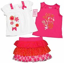 Nannette Toddler Girls White Peasant Shirt Pink Tank Top Scooter Set 3-Piece New
