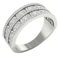 SI1/G 1.85Ct Prong & Channel Set Diamond Jewelry 14Kt Gold Anniversary Ring Band