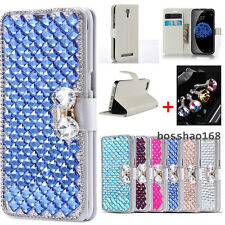 Bling Crystal Diamonds Bow PU leather flip slots stand wallet cover case skin #F