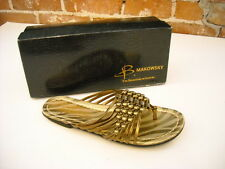 B Makowsky Nils Bronze Strappy Leather Beaded Thong Sandals New