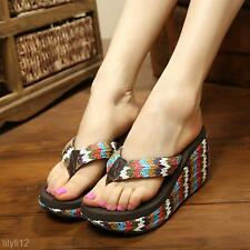 New Fashion Summer Women Sandals High Heels Flip Flops Beach Wedge Sandals Shoes