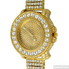 Gold Big Rocks Bezel Fully Iced Out Luxury Bling Watch