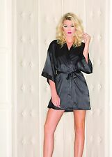 BW1525BK Black satin robe with side pockets BEWICKED