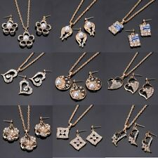 Women Crystal Pearl Gold Pendant Necklace Earring Jewelry Set Family Friend Gift
