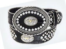 NEW! Western Black Rhinestone Leather Steerhead Belt Buckle Size 32-40