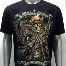 sc135 Sz XL Survivor Chang T-shirt Tattoo Skull Glow in Dark Pirate King Ghost