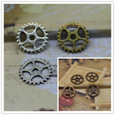35/150pcs 15mm Antique Bronze silver Lovely Filigree Gear Charms Pendant