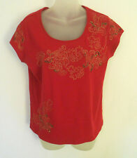 CHICO'S Blouse Top, Red, Cap Sleeves, Embellished, Tiny beads & sequins Sz 1