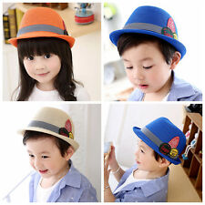 Toddler Baby Girl Boy Fedora Hat Jazz Cap Photography Cotton Trilby Top Cap AS
