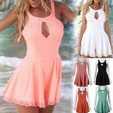 Sexy Women's Sleeveles Hollow Out Lace Splice Vest Backless Jumpsuit Rompers