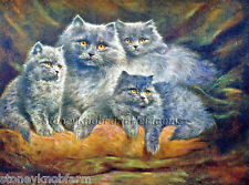 Persian Cat Family ~ Cats, Kittens ~ Counted Cross Stitch Pattern