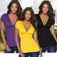Sexy Womens Short Sleeve V Neck Casual T-Shirt  Top Blouse Ladies Summer Vest EL