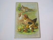Hen and Chickens Happy Easter Raphael Tuck & Sons Antique Postcard  T*
