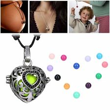 1Pc Heart Locket Pendant Pregnancy Ball Necklace With Bell Charms Bead New Gift