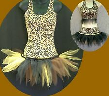 GIRLS DANCE TUTUS ~SKATE STAGE COSTUME CATS JUNGLE THEME LEOPARD PRINT FREESTYLE