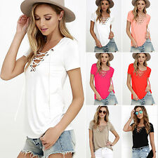 Womens Loose Summer T Shirt Tie Up Short Sleeve Party Tops Shirts Blouse Tee