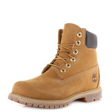 Womens Timberland 6 Inch Premium Wheat Yellow Iconic Leather Ankle Boots Uk Size