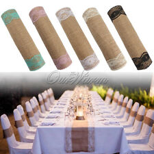 5 Colors Lace 30*270cm Burlap Table Runner Vintage Wedding Party Banquet Decor