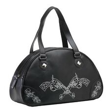 Rock Rebel Pistols Zombie Sparrows Faux Leather Bowler Bag Purse Tattoo Rock