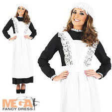 Old Time Victorian Maid Ladies Fancy Dress Womens Costume Outfit + Mop Cap New