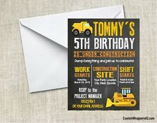 Construction Dump Truck Chalkboard  Birthday Party Invitations Personalized