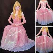 P240 COSPLAY pink blue Dress Princess sleeping beauty Costume Aurora women