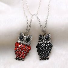 Fashion Crystal Rhinestone Red Black Owl Pendant Long Necklace Sweater Chain