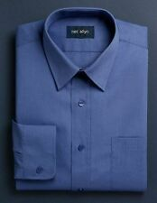 NWT. Size XS - 5XL. Men's French Blue Lay-Down Collar Dress Shirt.