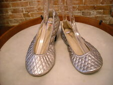 Foot Petals Pewter Quilted Commuter Travel Ballet Flats NEW