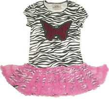NEW Beautees Zebra Sequined Butterfly Tutu Dress Top Size  6 6X