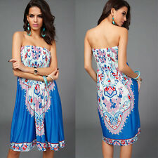 Fashion Women's Sexy Bandeau Strapless Tube Top Dress Summer Beachwear Sundress