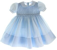 Girls Blue Smocked Portrait Dress with Collar Feltman Brothers Baby Clothes