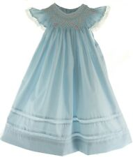 NEW Girls Blue Smocked Angel Bishop Dress with White Lace Trim Remember Nguyen