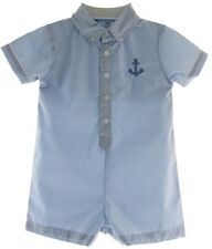 Infant Boys Blue Shortall Outfit with Anchor - Petit Ami