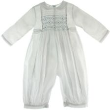Infant Boys White Long Sleeve Romper Outfit Blue Smocking Feltman