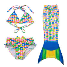 Girls Swimming 3pcs Bikini Set Mermaid Tail Swimable Bathing Swimsuit New 3-10Y